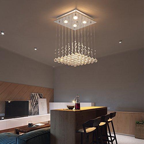 Saint Mossi ® Modern Unterputzmontage Regen Fallen Kronleuchter Kristall Leuchter Viereck entworfen Deckenleuchte - 2