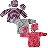 #4: Newborn Baby Sweaters , Cap and Socks Set [Pack of 3] For Infant Girl Boy , Woollen / Winter Clothing , New born Gift(LBWOL1005, 0 - 6 Months): Pattern/Color as per Stock :: SALE:: LIMITED PERIOD OFFER