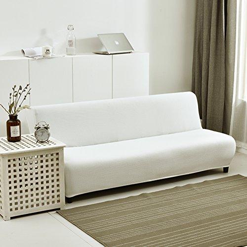 HM&DX Elastisch Sofabezug ohne armlehnen,Polyester und elasthan Waffle weave Knitted Einfarbig Futon slipcover Sofa abdeckung-Weiß 63-75in