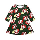 Babykleider,Sannysis Baby Mädchen Festlich Kleid Kinder Langarm Weihnachten Cartoon Santa Print Kleider Weihnachtskostüm