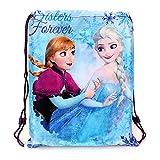 Disney Frozen Elsa & und Anna Kordelzug Trainer/Gym/PE/Schuh/Swim School Tasche Kinder Mädchen Blau Sisters Forever