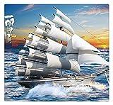 Personnalisé Grande Murale 3D Voile Photo Yacht Papier Peint Non-Tissé Salon Salon Canapé Tv Fond Papier Peint Revêtement Mural, 200Cmx140Cm