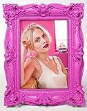 Bilderrahmen Shocking Barock Neon für Fotos im Format 13 x 18 cm, Retro- Kitsch- Design + üppiger barock-Stil in grellen Farben, Maße: ca. 19,5 x 25 x 3,5 cm, Material: Polyresin, Farbe:pink