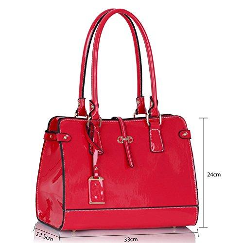 LeahWard® Damen Art und Weise modische Qualität greifen Schulter Handtasche Damen Desinger Stunning Patent Taschen CWS00306 Rosa/Fuchsia