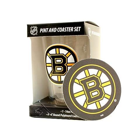 Boston Bruins 16-Ounce Pint Glass & 4 Coasters Gift Set