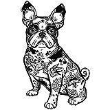 Pegatinas Coche Bulldog Francés Tatuado 13 x 20 cm   Adhesivo de Fácil Colocación   Pegatina para Coche Económica y Resistente