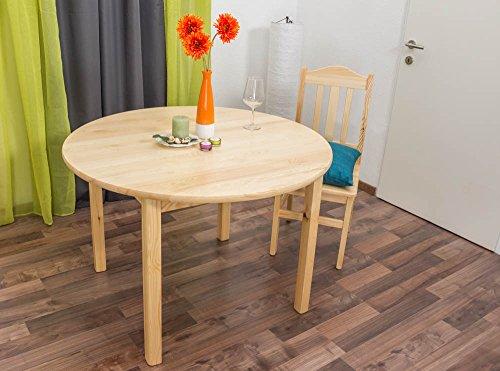 Tisch Kiefer massiv Vollholz natur 003 (rund) - Durchmesser 110 cm