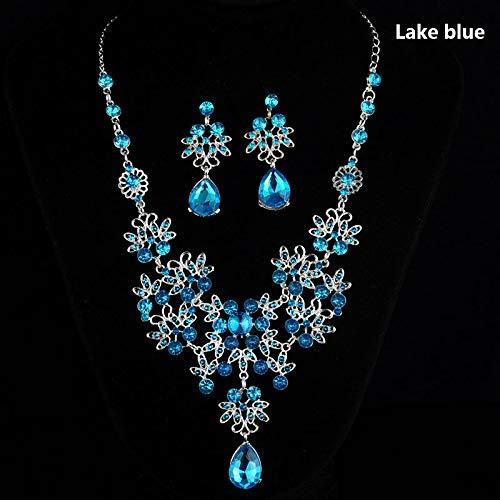 Henreal Hochzeitsschmuck, Set aus Glas mit Blume, Wassertropfe, Halskette und Ohrringe, Geschenk Lake Blue