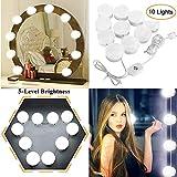 Estilo Hollywood Luces de Espejo de Tocador LED Kit con 10 bombillas regulables para maquillaje Tocador con...