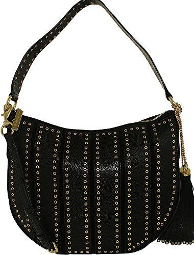Michael Kors Women's Medium Brooklyn Grommet Convertible Suede Leather Shoulder Bag Hobo - Black (Womens Michael Medium Michael Kors Hobo)