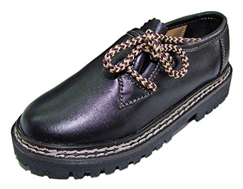(Kinder Trachten Haferlschuhe Nappaleder Schwarz Gr. 29 - Schöne Schuhe für Jungen Halbschuhe zur Trachten Lederhose)