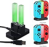 Cable de carga USB-C LeSB Joy-Con cargador cuadruple para Nintendo Switch, estación de carga de controlador con puerto USB-C y pantalla LED de carga - Negro