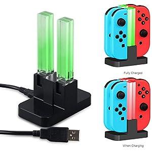 Megadream USB ladegerät, für Nintendo Switch Zubehör 4 USB Ports Ladestation Halter Tragbare Travel Size Ladestation mit Typ C Unterstützung Original AC Adapter und LED Indikator für Nintendo Switch Joy-Con