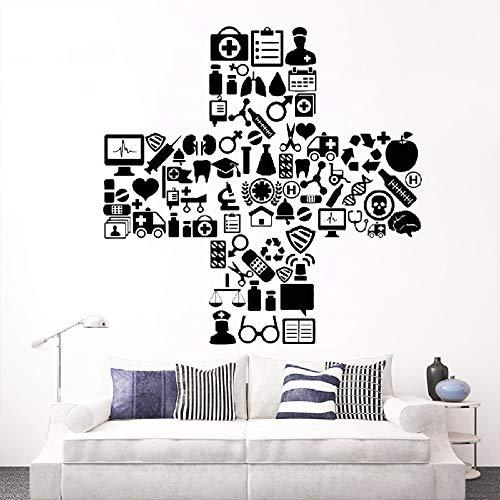 Vinyl Wandtattoo Medizin Krankenhaus Symbol Klinik Arzt Krankenschwester Aufkleber für Wand Fensterglas Selbstklebende Poster eine 57x57 -
