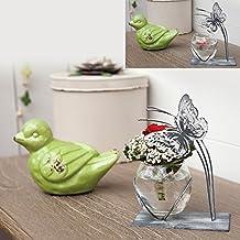 Jarrón decorativo Tendance mariposa–gris