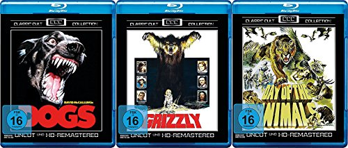 Killer Bestien - Sie lauern auf Dich DOGS - KILLERHUNDE + GRIZZLY + DAY OF THE ANIMALS - PANIK IN DER SIERRA NOVA 3 Blu-ray Classic Cult Edition UNCUT & FULL HD REMASTERED (Dog Days-dvd)