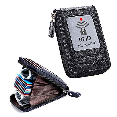 Damen und Herren, RFID-blockierend, Echtleder, Kreditkarten-Etui für Damen, kleine Akkordeon-Geldbörse, Kreditkarten-Reißverschluss ()