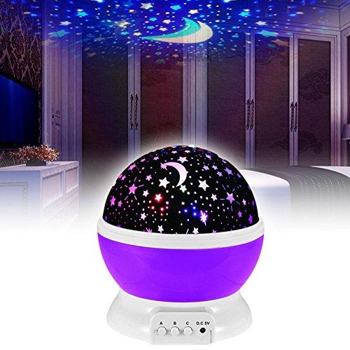 Preisvergleich Produktbild EMOTREE LED Sternenhimmel Nachtlicht Kinder Baby Geschenk Einschlafhilfe Projektor Nachtlampe Kinderzimmer Deko Lila