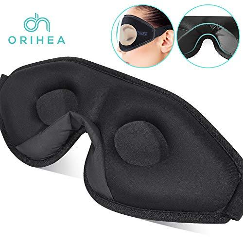 OriHea 3D Schlafmaske Damen und Herren. Premium Schlafbrille mit Innovativem verstecktem Nasenflügel-Design, Blockiert Licht 100{15d34f3789694c0f961e9a24d476a92712247047a30986923d9dcef8ecb93132} Augenmaske, verstellbare Premium Seiden Schaum Augenbinde.