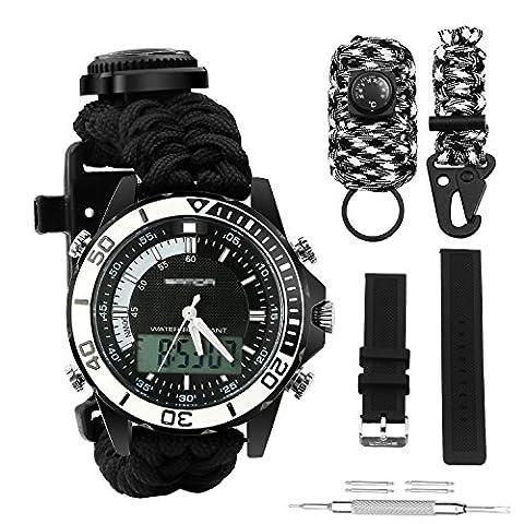 Digital Survival Armbanduhr Wasserdicht Notfall Military Digital Dual Zifferblatt Sport Uhr mit 3Multifunktional Austauschbare Survival Armband Armband