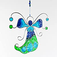 Fensterdeko Engel, Fee aus Resin türkis, grün | Fenster Deko zum Aufhängen | Regenbogenkristall | Sonnenfänger | Engel Deko Sommer | Deko Engel | Fensterschmuck Weihnachten