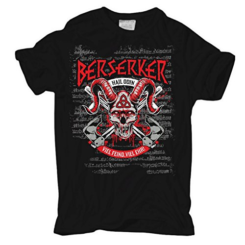 Männer und Herren T-Shirt Berserker Viel Feind Viel Ehr (mit Rückendruck) Schwarz