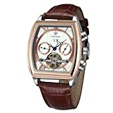 FORSINING Mens Automatic Branded Watch with Complete Calendar Tonneau Shape Leather Band Luxury Wristwatch