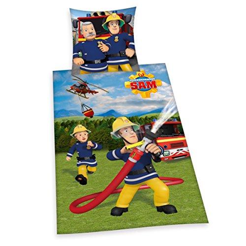 *Herding 447034050 Bettwäsche Feuerwehrmann Sam, Kopfkissenbezug: 80 x 80 cm und Bettbezug: 135 x 200 cm, 100% Baumwolle, Renforce*