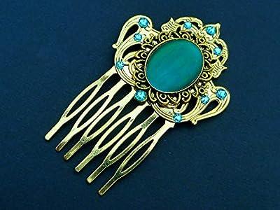 Peigne à cheveux avec cabochon en or turquoise
