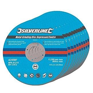 Silverline 224514 – Discos de desbaste de centro hundido para metal, 10 pzas (115 x 6 x 22,2 mm)