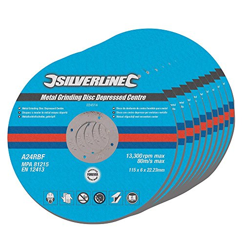 Silverline 224514 Metal Grinding Discs Depressed Centre, 115 x 6 x 22.2 mm - Pack of 10 Test