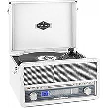 auna Belle Epoque 1907 • Retroanlage • Plattenspieler • Stereoanlage • Riemenantrieb • Bluetooth • Direktencoding von Schallplatte, Kassette und AUX • UKW/MW Empfänger • MP3-fähiger CD-Player • weiß
