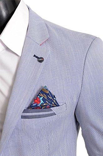 D&R Fashion Uomo Blazer Estivo Giacca Casuale Formale Colori Vivaci Cotone Fiore Blu