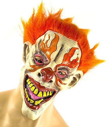 Clown-Maske Halloween-Kostüm blutig Crazy Eyes Orangene Haare Gesicht ()