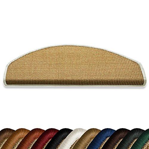 casa pura Stufenmatten myStyle 15er Spar Set | Kettelung in Wunschfarbe | 100% Naturfaser Sisal | halbrund | Stabiler Halt Dank Winkelschiene (Kettelung Weiß)