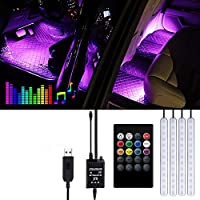 Interior Car Lights - Gaoni Car Strip LED Lights, Waterproof with 4pcs 48 LEDs 8 Colors with Sound Sensor and Remote Control, USB Port Car Charger Light Bar, Car Music Sound-activated Lighting, DC 5V