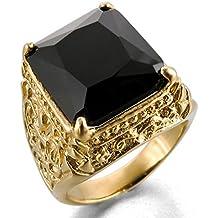 MunkiMix Acero Inoxidable Vidrio Glass Anillo Ring Oro Dorado Tono Negro La Flor De Lis Dragón Garra Grabado Hombre