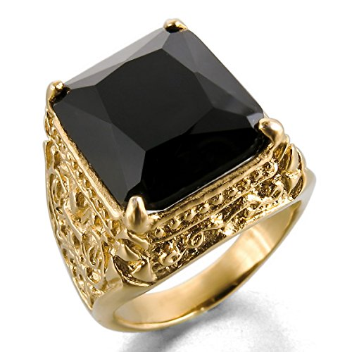 MunkiMix Stainless Steel Glass Ring Gold Tone Black Knight Fleur De Lis Dragon Claw Engraved Size R Men