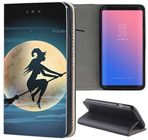 Huawei P9 Lite 2017 Hülle Premium Smart Einseitig Flipcover Hülle P9 Lite 2017 Flip Case Handyhülle Huawei P9 Lite 2017 Motiv (1508 Hexe Besen Halloween Mond)