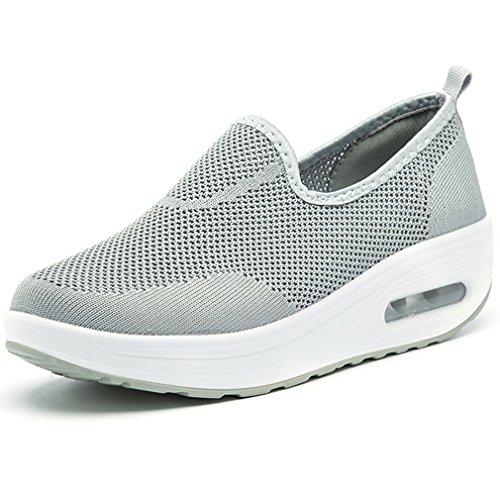 Solshine Damen Air Mesh Sportschuhe mit Luftpolster Plateau Slip on Loafers Sneakers Grau 37EU (Frauen Grau Loafer)