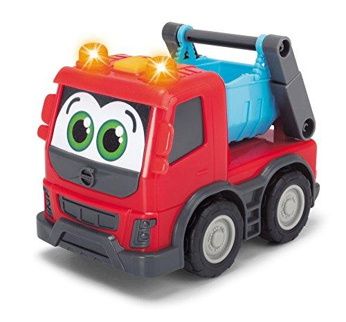 Dickie Toys 203811006 Happy Volvo FMX, Baufahrzeuge für Kleinkinder, Kipper, Zementmixer, Container Truck, 3 versch. Modelle, 13cm