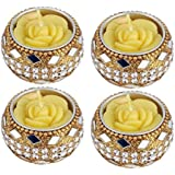 D'Amour Hand Crafted Festive Decor Tealight Candle Holder With Floral Candle(Gold, Pack Of 4)