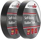 Poppstar - 2x Auto-saldatura nastro isolante universale (nastro sigillante), LxPxA 10m x 19mm x 0,76mm, nero