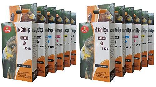 12 cartuchos de tinta de impresora con chip integrado compatibles con CANON PIXMA MP980 MP990 MP. Reemplaza Canon PGI-520BK CLI-521BK CLI-521C CLI-521M CLI-521Y CLI-521GY