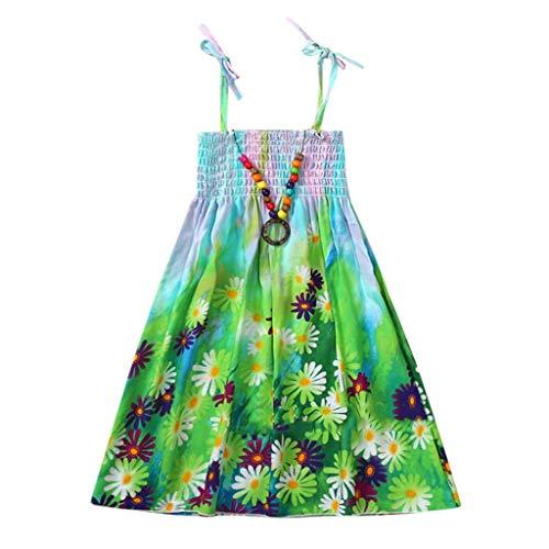 JUTOO Säuglingskindermädchenbaby-Kleidungs-Nationale Art mit Blumenböhmisches Strandgurt-Kleid (Grün,110)