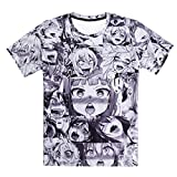 Anime Ahegao lustiges 3D Alle über Drucken Hoodies Jogger Hipster Sexy Cartoon Street Wear Bekleidung ahegao t shirt XL