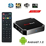 Greatlizard Android 7.1.2 X96 Mini TV Box Quad Core 2.4G Wifi 4K HD Supporto VP9 HEVC Decodifica(1GB Ddr3 + 8GB EMMC)