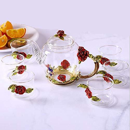 Théière en verre émaillé à la main, ensemble (lot de 6),Red