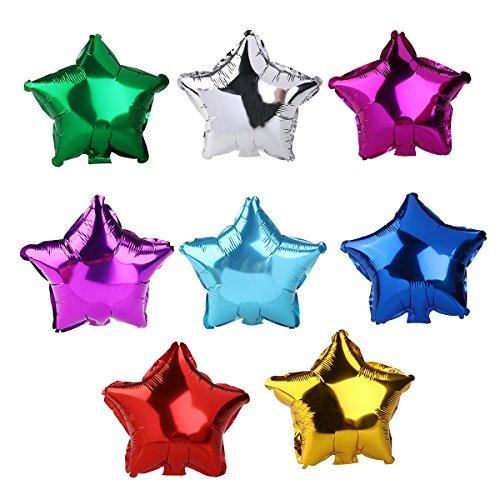 Pixnor 8pcs helio papel globos forma de estrella Color metálico lámina globos Color al azar