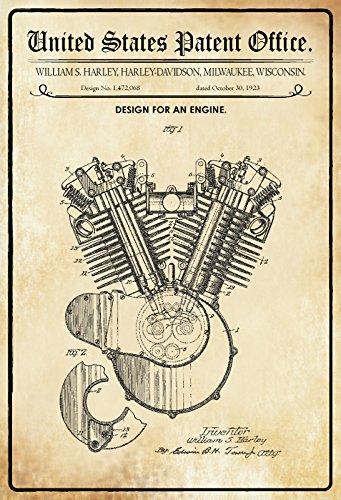 Schatzmix United States Patent Office - Design for An Engine - Entwurf für EIN Motor - Harley, Wisconsin 1923 - Design No 1.472.068 - Blechschild -